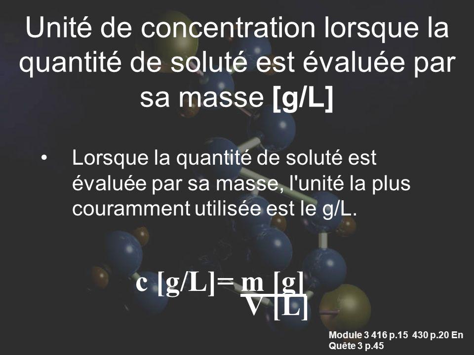 Unité de concentration lorsque la quantité de soluté est évaluée par sa masse [g/L]